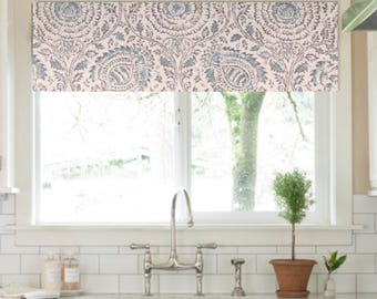 Window Valance Blue Medallion Kitchen Curtains Treatment Dining Room Kravet