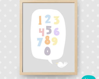 Beautiful Kids Print - Colorful Numbers // Hermosa Lamina Infantil - Numeros Coloridos