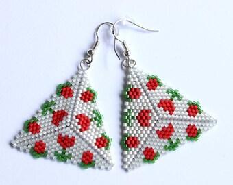 Seed Bead Earrings, Floral Earrings, Beaded Dangle Earrings, Triangle Earrings, Geometric Earrings, Boho Earrings