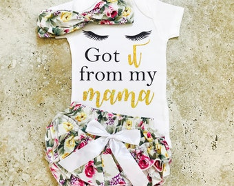 Baby Girl Outfits, Mommy and Me Outfits, Baby Shower Gift, Newborn Coming Home, Girl Coming Home Outfit, Got It From My Mama, Mommy and Me