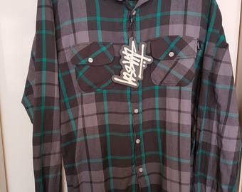 MEN'S STUSSY CARLISLE grey new with tags button front shirt sz s