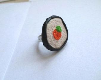 Ring round maki avocado salmon black green orange Fimo