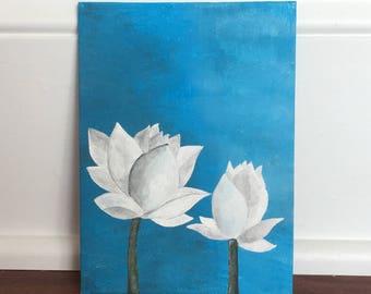White Lotus Acrylic Painting