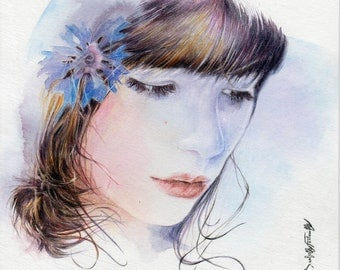 """Watercoloor painting woman's portrait called 'Raiponce"""" by Isabelle Fontenille"""