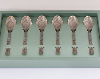 6 Personalised tea spoon set, customised teaspoon, custom gift, unique Gift Idea, coffee, hot chocolate,tea, Music lover, Engraved Tea Spoon