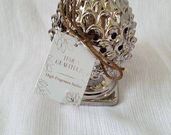 Silver Artichoke Sachet. Multiple Scents Available.  Potpourri Holder. Home Decor. Sachet Holder. High Fragrance Sachet