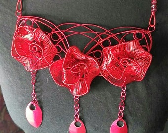 Red wirework rose bib style necklace and earring set