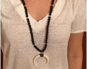 Matte Black Onyx Beaded Necklace with Pavé Crescent