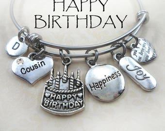Happy Birthday Cousin Bangle Bracelet, Stainless Steel, BFF, Girls,Teens, Women Best Birthday Jewelry Gift, 3 Sizes, Pretty and Fun