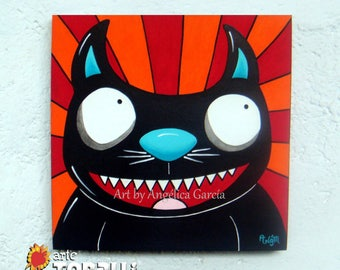 Cat-Little Devil, Original painting, Black Cat. Original paint, Gato-Diablito. Acrylic on wood, decorative box,
