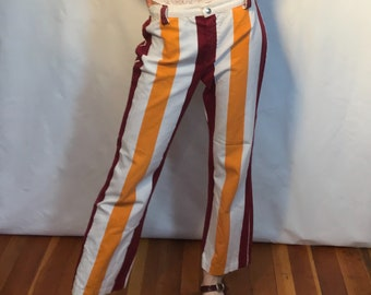 Orange Red & White Pinstripe pants