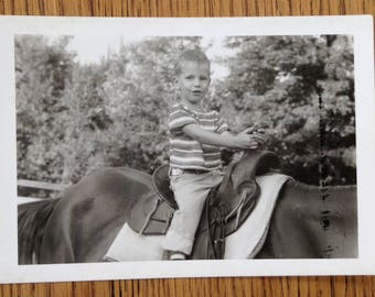 Vintage Original Black and White Photo Snapshot Very Cute Handsome Young Boy Riding Horse 1959 Child Fashion 1950s