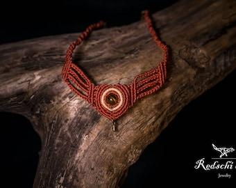 Macrame choker, macrame necklace, handmade jewelry, boho, hippie, ethnic, Festival