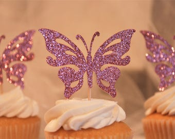 Glitter butterfly cupcake toppers