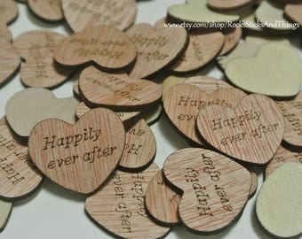 Wood Heart Confetti, Bridal, Wedding