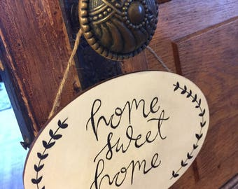 "Wooden ""Home Sweet Home"" in Calligraphy with Detail"