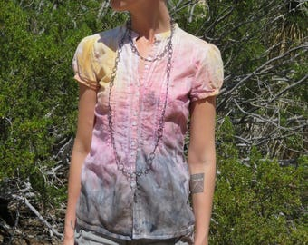 Bohemian hand-dyed shirt watercolor blouse fire top smoke sunny