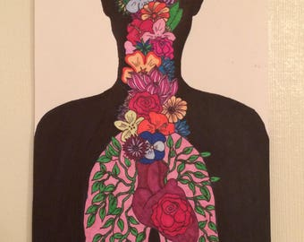 Burst of Colorful Flowers Blooming From Human Original Ink