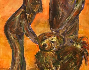 A semi abstract modern art, painting, Our Four Legged Friend