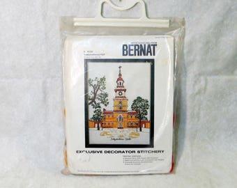 "Bernat ""Independence Hall"" Crewel Embroidery Kit | Exclusive Decorator Stitchery | Independence Hall Philadelphia | Vintage Bernat #S9152"