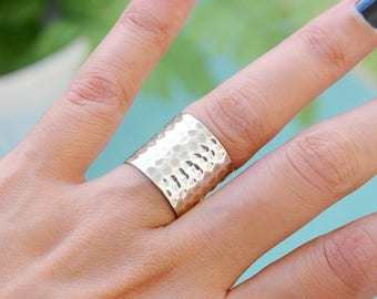 Sterling silver wide long band cuff hammered ring