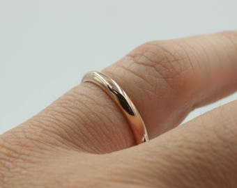 Womens Rose Gold Wedding Band Silver With Finish Thin