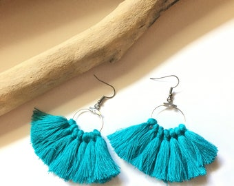 Blue & silver hook, tassel pom pom pom pom earrings blue earrings tassel earrings