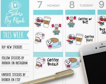 Planner Stickers - Coffee Stickers - Fun Stickers - Cute Stickers - Cute Planner Stickers - Coffee Lovers 89179