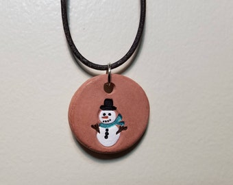 Snowman Aromatherapy Pendant for Essential Oils with 1/4 Dram Oil Sample