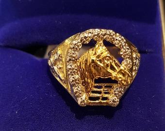 10K Gold Horse Head & Diamond Horseshoe Mens Ring Size 10
