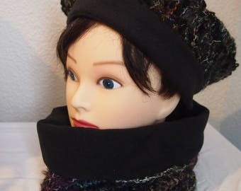 Hat and cowl scarf black and dark green