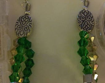 Necklace Crystal Green Layered