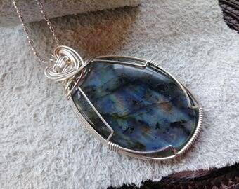 Labradorite Large Sterling Silver Pendant