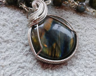Labradorite Sterling Silver Wire Wrapped Beaded Necklace