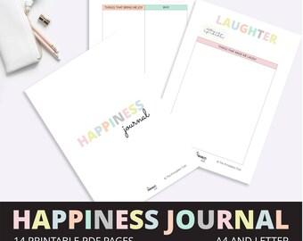 Happiness Journal, Gratitude Journal Printable, Gratitude Log, Positivity Journal, Gratitude Printable, Happiness Printable 14 PDF Pages