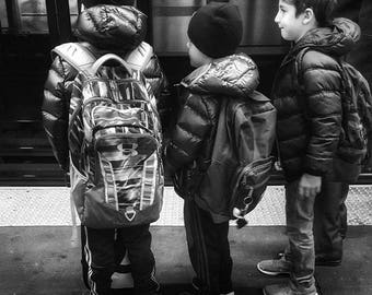 Boys waiting for the subway