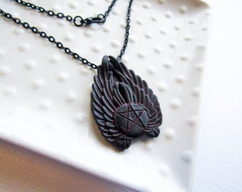 Black and Red Winged Angel Necklace - Wing pentacle - Supernatural - Gothic style Necklace - Metal Base - polymer Clay - Hand painted occult