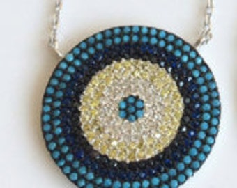 TURQUOISE EVIL EYE Necklace Sterling Silver