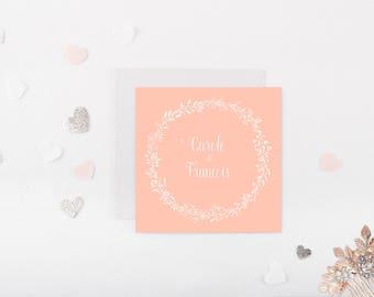 Flower wreath wedding invitation