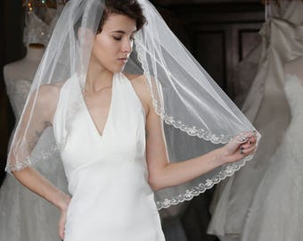 Veil With Hand Embroidered Flower Edge