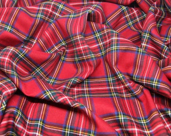 5 meters of Red plaid fabric Red tartan fabric Christmas fabric Xmas fabric Fabric for Cristmas dress Plaid fabric for skirts and dresses