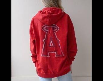 Vintage LA Angels Zip Hoodie   Los Angeles Angels Sweatshirt