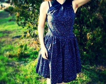 Black Floral Sleeveless Collared Dress with Pockets