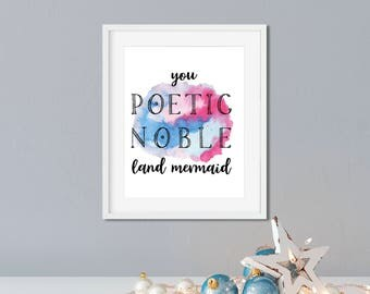 Parks and Rec Leslie Knope Ann Perkins Compliments Framed Print - You Poetic Noble Land Mermaid - Leslie Knope Quote, Parks and Rec Gift