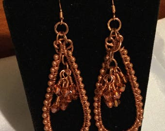 Copper wire and Swarovski Crystal Earrings
