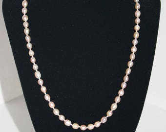 """Beautiful, hand-knotted pale pink fresh water pearls with sterling silver clasp. 19"""" - gifts for her/wedding/bridesmaid p002"""