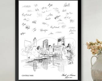 Central Park Guestbook Print, Guest Book, Bridal Shower, NYC, New York Wedding, Custom, Alternative Guest Book, Sign In (8 x 10 - 24 x 36)
