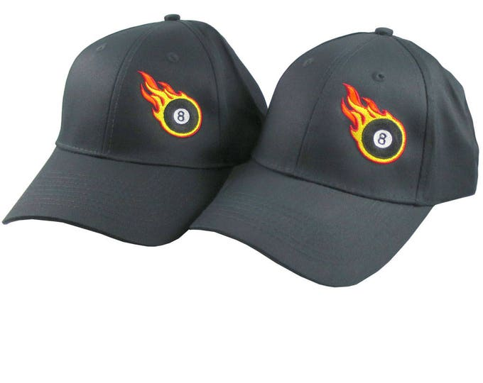 Pair of Sporty Billiard 8 Ball Fire Bullet Embroidery Designs on 2 Black Adjustable Structured Baseball Caps for Adult + for Child Age 6-14
