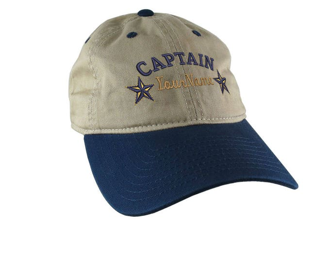 Your Name Nautical Stars Boat Captain Embroidery on an Adjustable Khaki and Navy Unstructured Baseball Cap Options to Personalize the Back