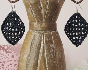 Macrame black, Silver earrings